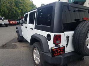 White jeep with black trim